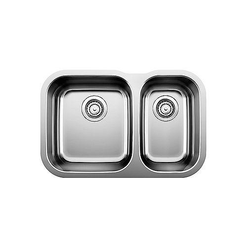 Blanco ESSENTIAL U 1.5, Offset Double Bowl Undermount Kitchen Sink, Stainless Steel