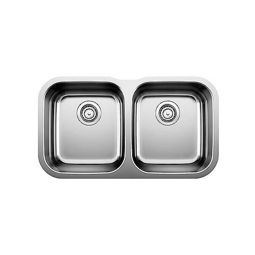 ESSENTIAL U 2, Equal Double Bowl Undermount Kitchen Sink, Stainless Steel