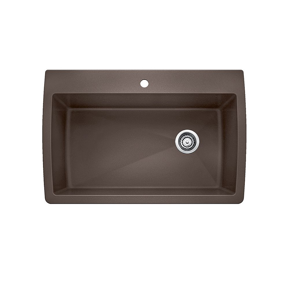 Blanco DIAMOND SUPER SINGLE, Large Single Bowl Drop-in Kitchen Sink, SILGRANIT Café