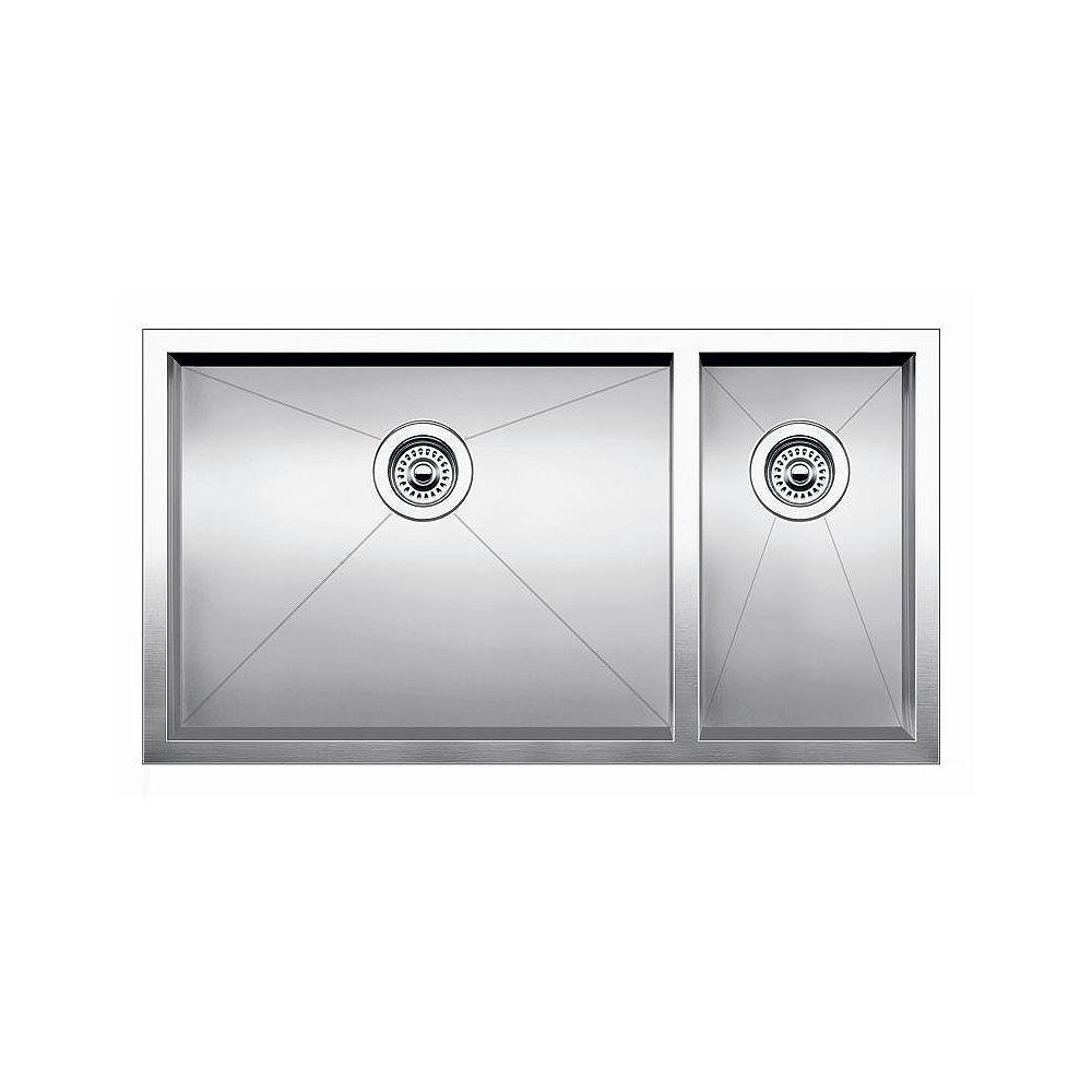 Blanco Precision U 1 Double Bowl Undermount Kitchen Sink, STEELART Stainless Steel