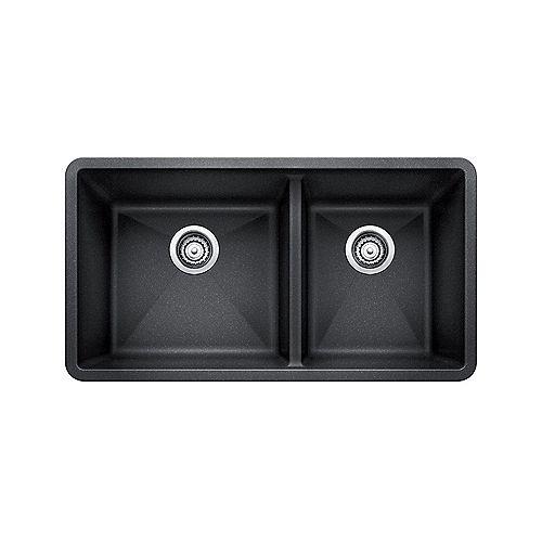 PRECIS U 1.75 SILGRANIT Offset Double Bowl Undermount Kitchen Sink