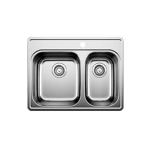 ESSENTIAL 1.5, Offset Double Bowl Drop-in Kitchen Sink (1 Hole), Stainless Steel
