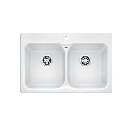 VISION 210, Equal Double Bowl Drop-in Kitchen Sink, SILGRANIT White