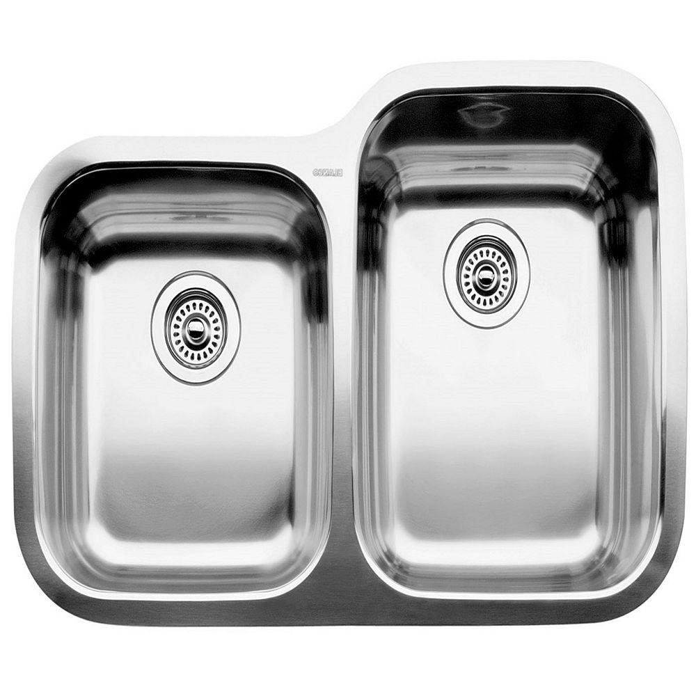 "Blanco Supreme U 1  (Bowls 10"" & 8"") Double Bowl Undermount Kitchen Sink, Stainless Steel"