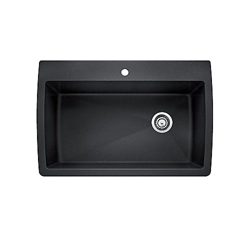 DIAMOND SUPER SINGLE, Large Single Bowl Drop-in Kitchen Sink, SILGRANIT Anthracite