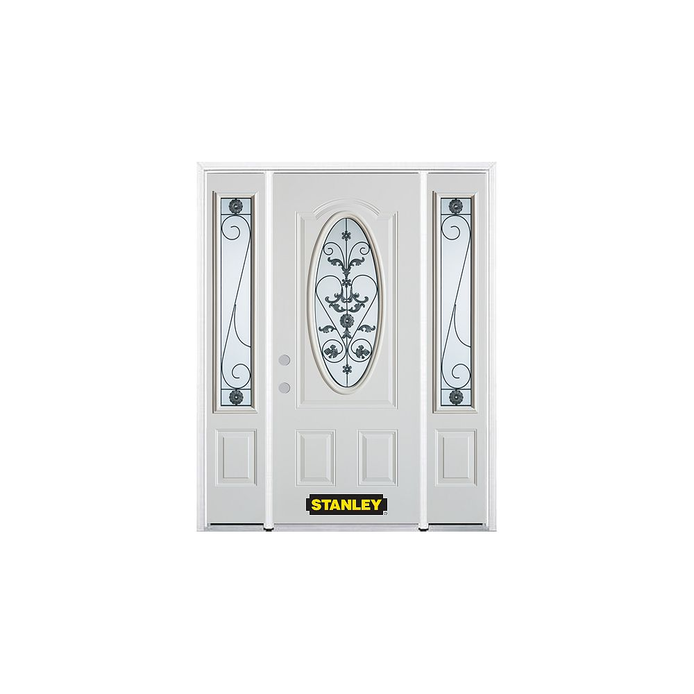 STANLEY Doors 68.5 inch x 82.375 inch Blacksmith 3/4 Oval Lite 2-Panel Prefinished White Right-Hand Inswing Steel Prehung Front Door with Sidelites and Brickmould