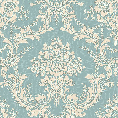 20.5 In. W Blue and Cream Mid-Scale Damask on a Moire Background Wallpaper