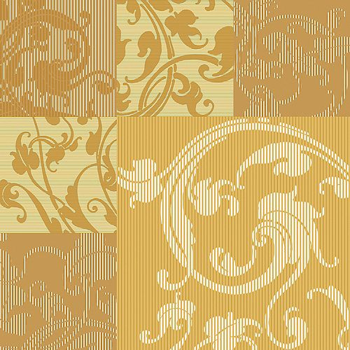 20.5 In. W Yellow and Ochre Swirl Leaf Design in Square Pattern Wallpaper