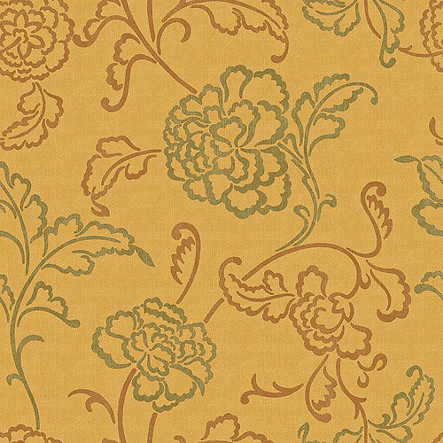 20.5 In. W Yellow, Ochre and Green Contemporary Linear Floral Wallpaper