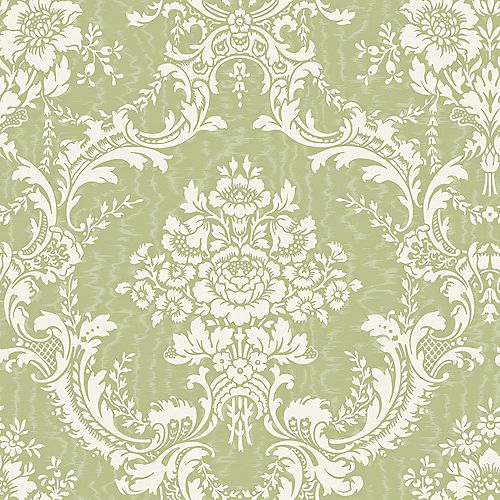 20.5 In. W Green Large Contemporary Damask Wallpaper