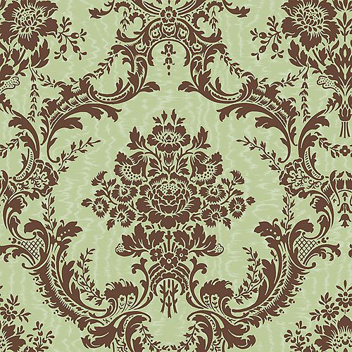 20.5 In. W Brown and Green Mid Scale Damask on Moire Background Wallpaper