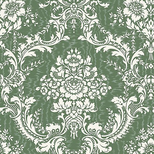20.5 In. W Green Mid Scale Damask on Moire Background Wallpaper