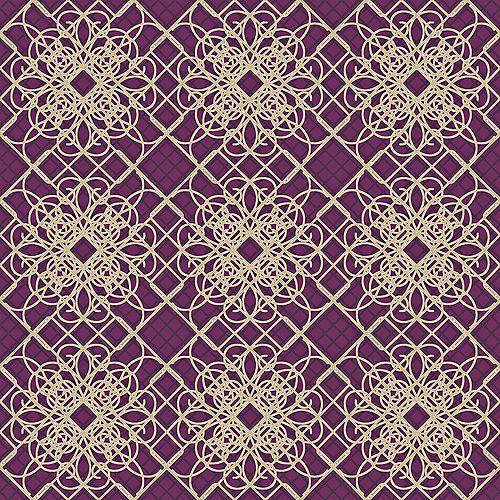 20.5 In. W Purple and Beige Giro-Lace Print Wallpaper