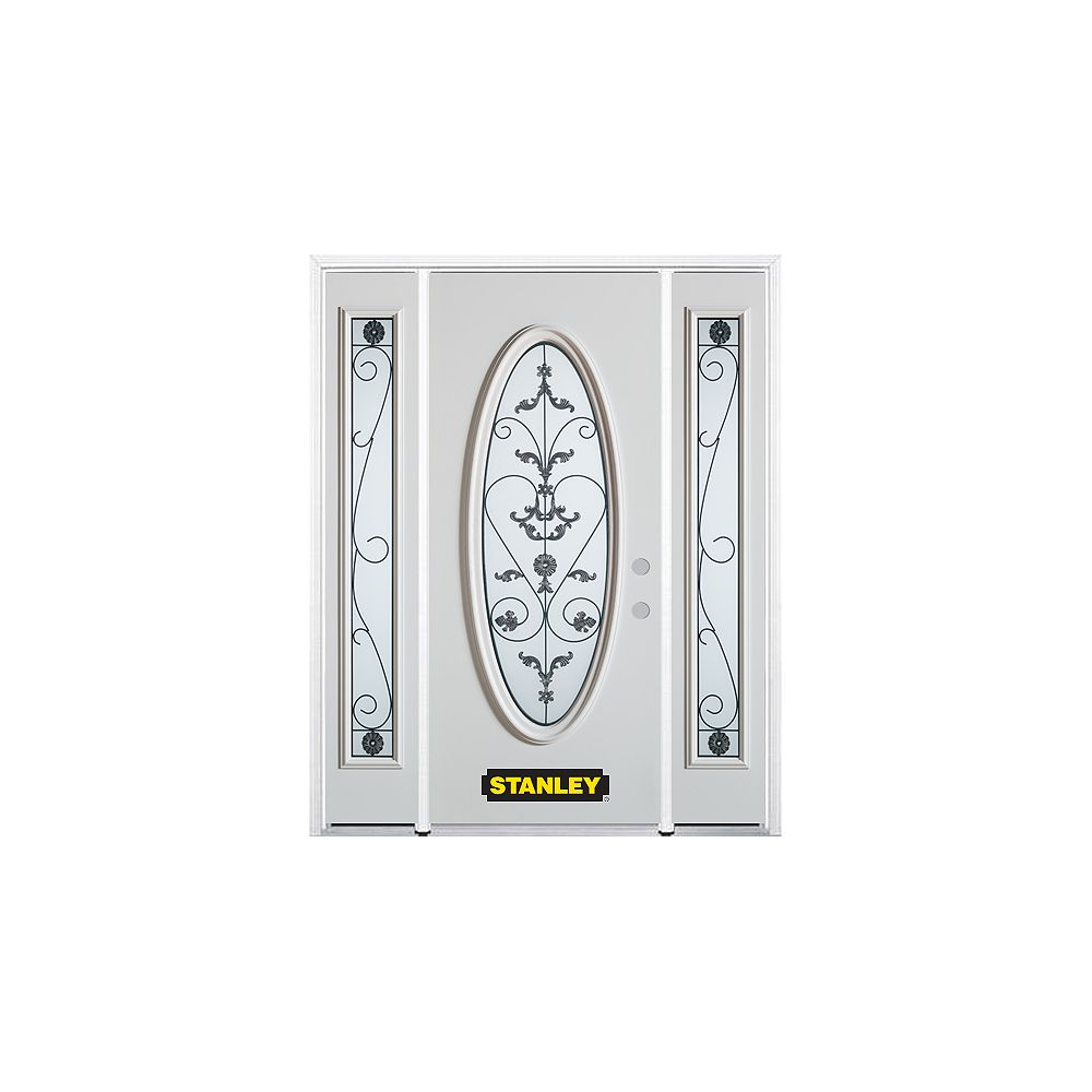 STANLEY Doors 66.5 inch x 82.375 inch Blacksmith Full Oval Lite Prefinished White Left-Hand Inswing Steel Prehung Front Door with Sidelites and Brickmould