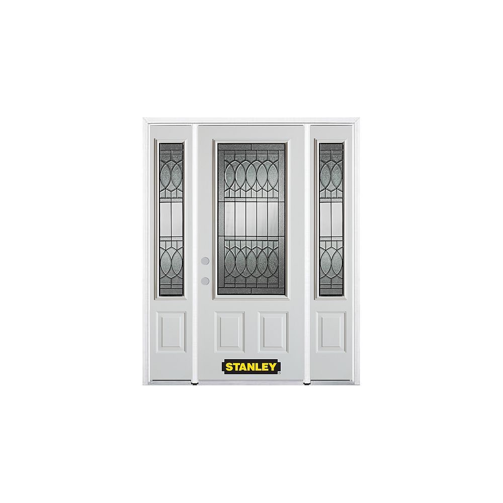 STANLEY Doors 68.5 inch x 82.375 inch Nightingale Patina 3/4 Lite 2-Panel Prefinished White Right-Hand Inswing Steel Prehung Front Door with Sidelites and Brickmould - ENERGY STAR®