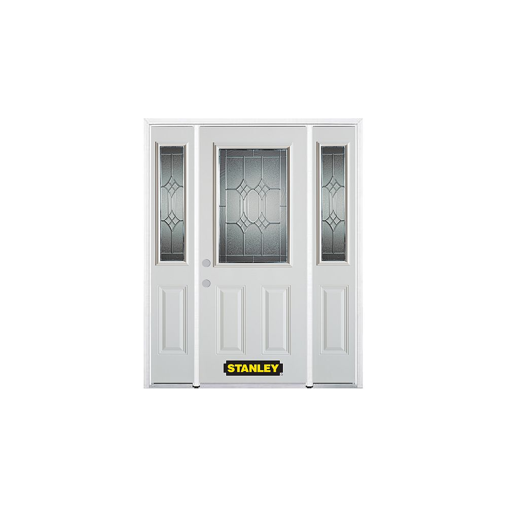 STANLEY Doors 66.5 inch x 82.375 inch Orleans Patina 1/2 Lite 2-Panel Prefinished White Right-Hand Inswing Steel Prehung Front Door with Sidelites and Brickmould