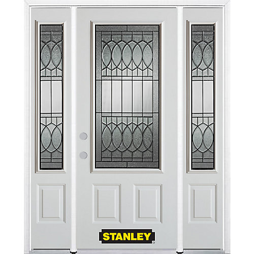 64.5 inch x 82.375 inch Nightingale Patina 3/4 Lite 2-Panel Prefinished White Right-Hand Inswing Steel Prehung Front Door with Sidelites and Brickmould