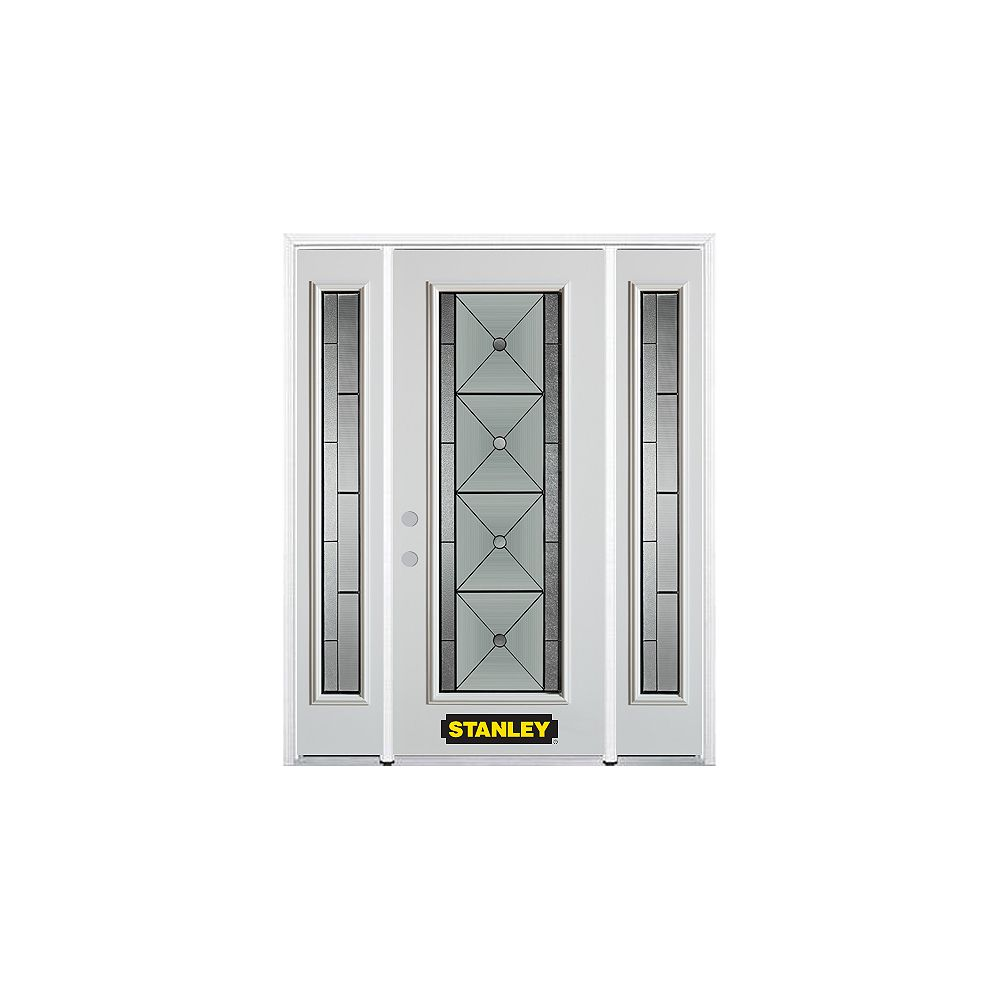 STANLEY Doors 68.5 inch x 82.375 inch Bellochio Patina Full Lite Prefinished White Right-Hand Inswing Steel Prehung Front Door with Sidelites and Brickmould