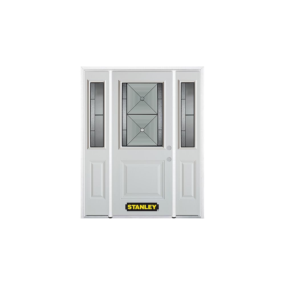 STANLEY Doors 64.5 inch x 82.375 inch Bellochio Patina 1/2 Lite 1-Panel Prefinished White Left-Hand Inswing Steel Prehung Front Door with Sidelites and Brickmould
