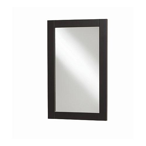 Miroir encadré de style Eurostone shaker de 20 po x 30 po (chocolat noir)