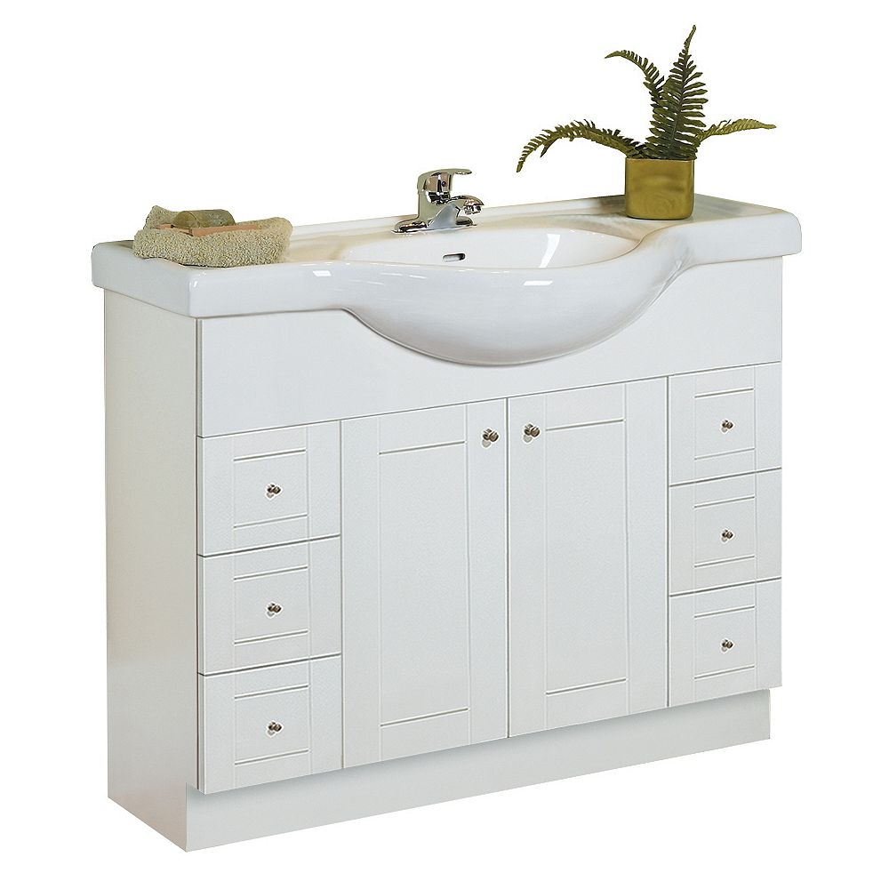 Woodnote Euro 41-Inch Vanity Cabinet in White with ...