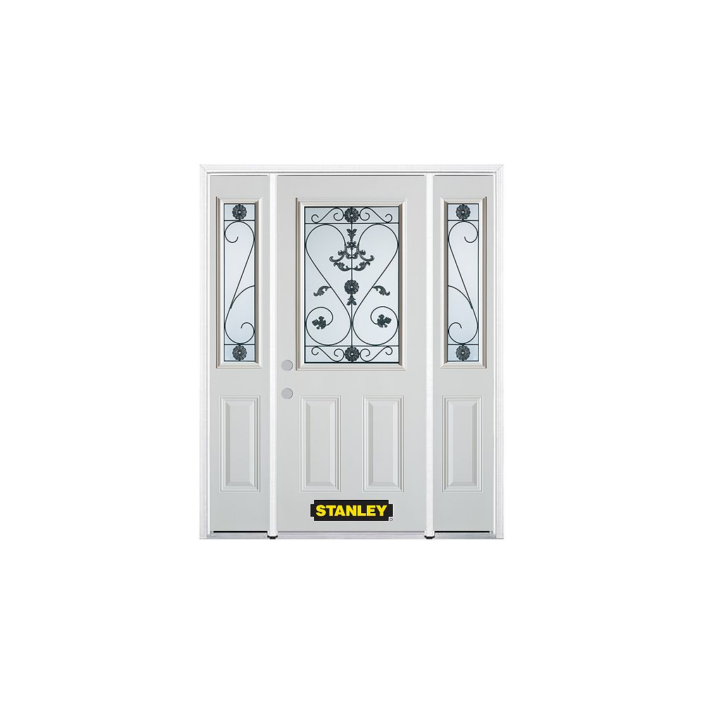 STANLEY Doors 64.5 inch x 82.375 inch Blacksmith 1/2 Lite 2-Panel Prefinished White Right-Hand Inswing Steel Prehung Front Door with Sidelites and Brickmould
