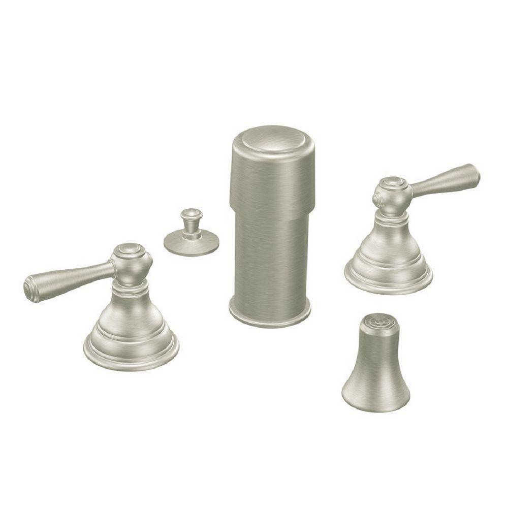 MOEN Kingsley 2-Handle Bidet Faucet Trim Kit in Brushed Nickel (Valve Not Included)