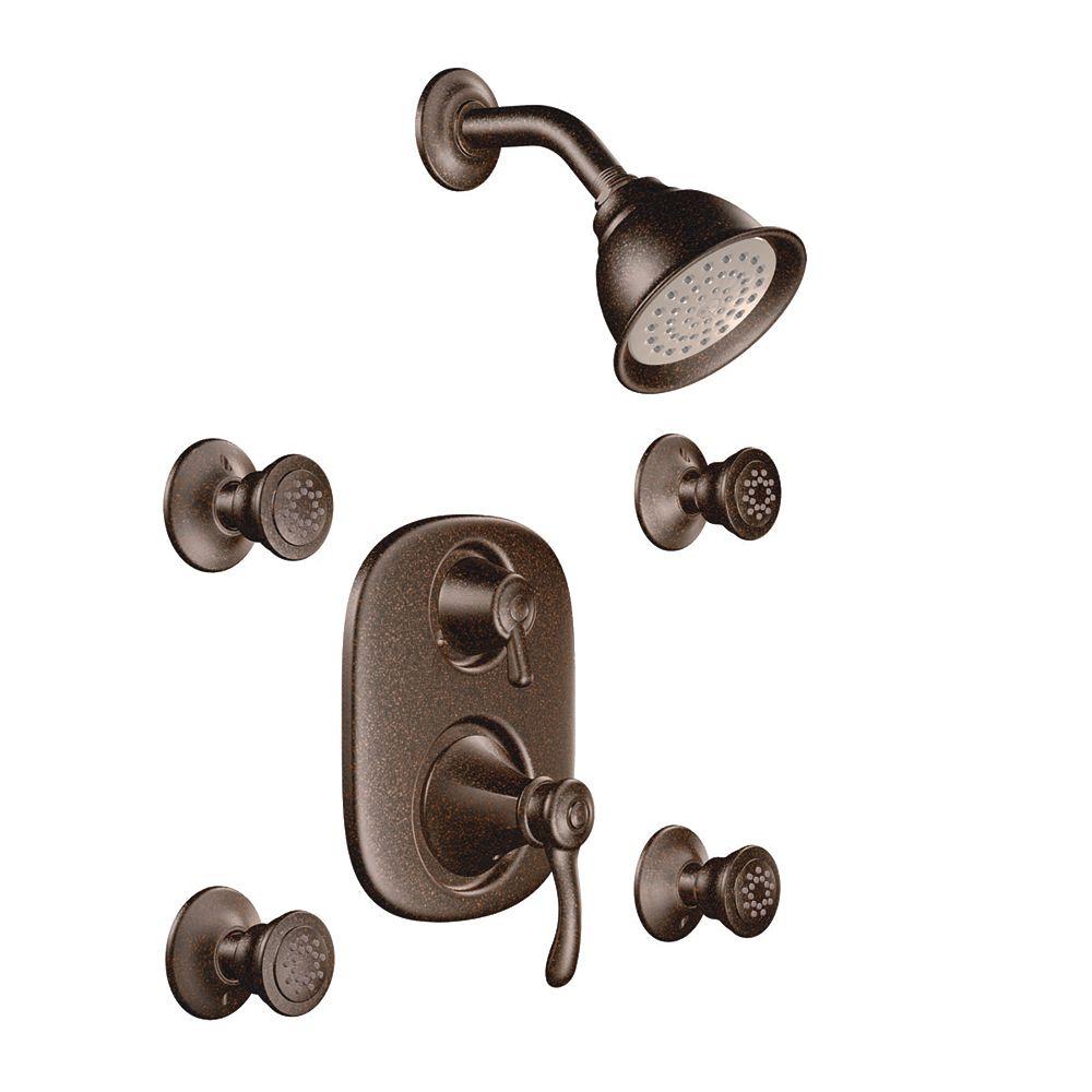 MOEN Vestige - Douche/baignoire à équilibrage de pression Moentrol avec garniture seul. de 4 jets corporels - Bronze huilé