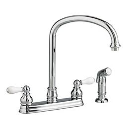 Hampton 2-Handle Standard Kitchen Faucet with Side Sprayer and Porcelain Lever Handles in Polished Chrome