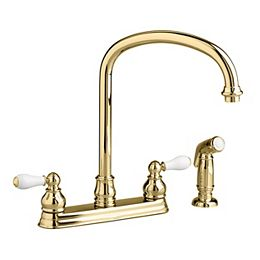 Hampton 2-Handle Side Sprayer Kitchen Faucet in Polished Brass