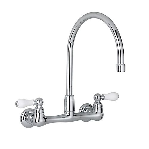 Heritage 2-Handle Wall-Mount Kitchen Faucet in Polished Chrome with Gooseneck Spout