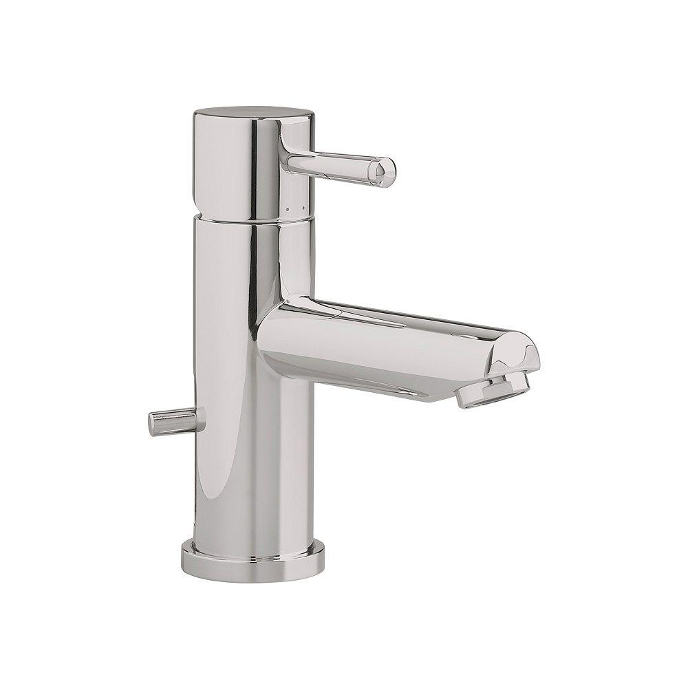 American Standard Robinet de salle de bains Serin à un trou et à poignée unique, à bas régime, avec vidange rapide, en nickel satiné