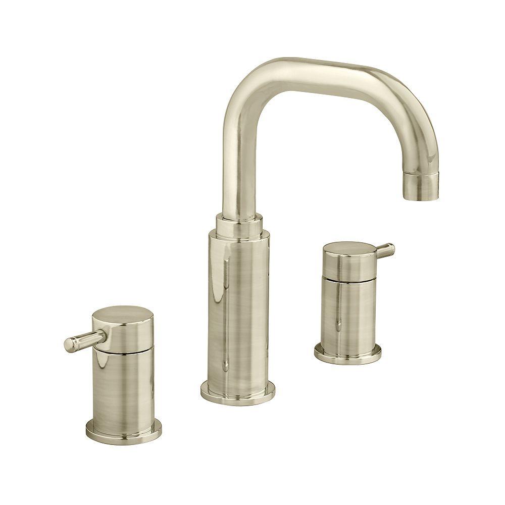 American Standard Robinet de salle de bains Serin de 8 pouces à deux poignées, à l'arche de haute qualité, au fini nickel satiné