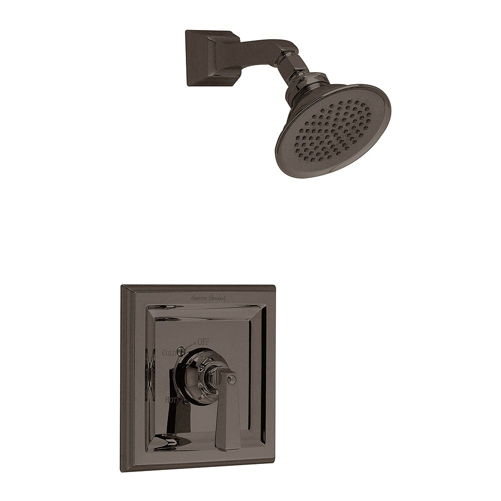 American Standard Town Square Shower Faucet with Rain Showerhead and Brass Shower Arm in Blackened Bronze