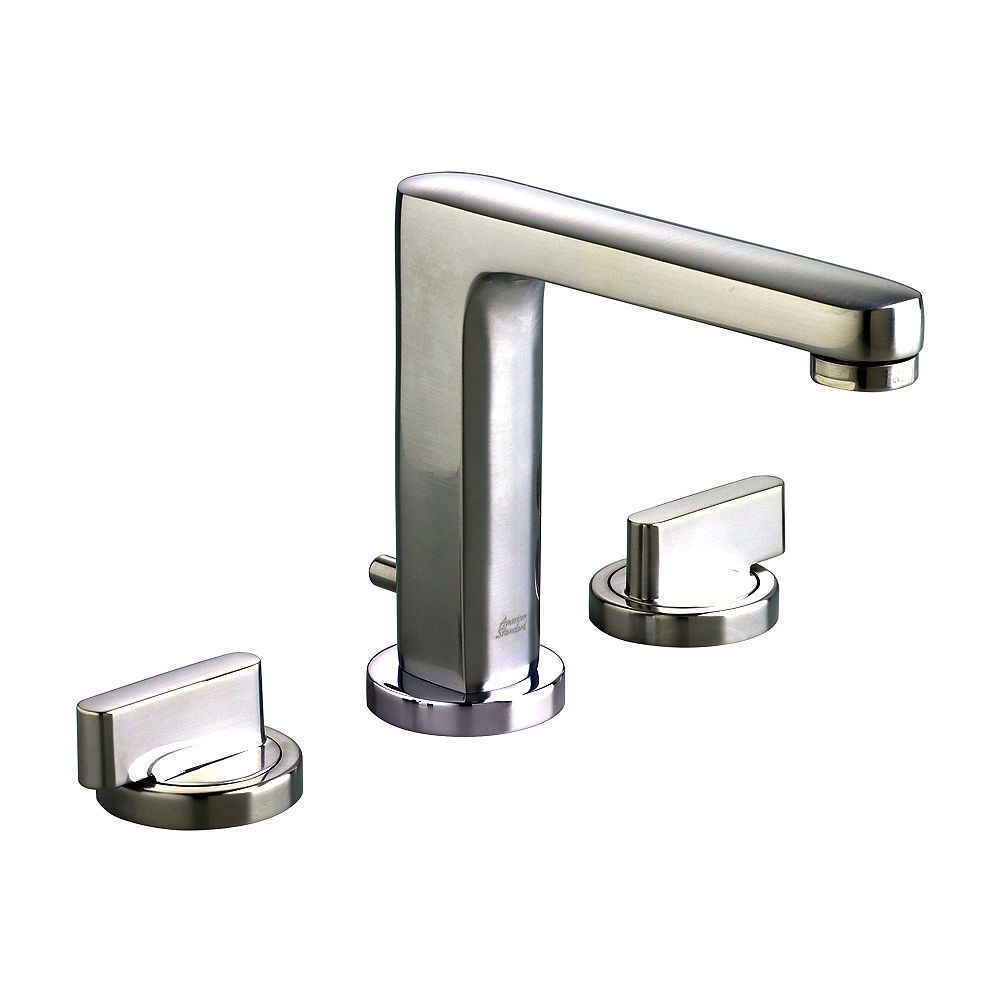 American Standard Moments 8-inch Widespread 2-Handle Mid-Arc Bathroom Faucet in Stainless Steel Finish