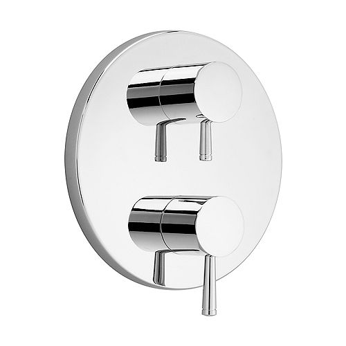 Serin 2-Handle Thermostat Valve Trim Kit in Chrome with Separate Volume Control (Valve Not Included)
