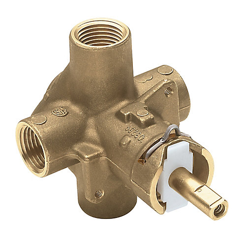 Brass Rough-In Posi-Temp Pressure-Balancing Cycling Tub and Shower Valve w/ 1/2-Inch IPS Connection