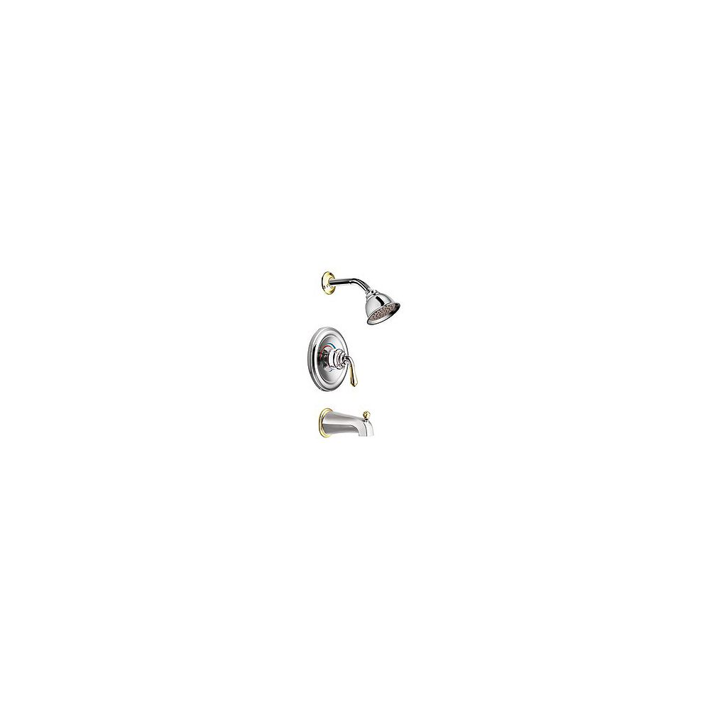 MOEN Monticello Posi-Temp Bath/Shower Faucet in Chrome and Polished Brass