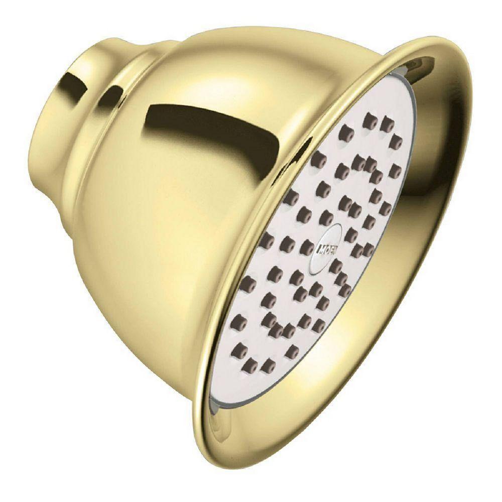 MOEN XL 1-Spray 4.4-inch Single Wall Mount Fixed Shower Head in Polished Brass