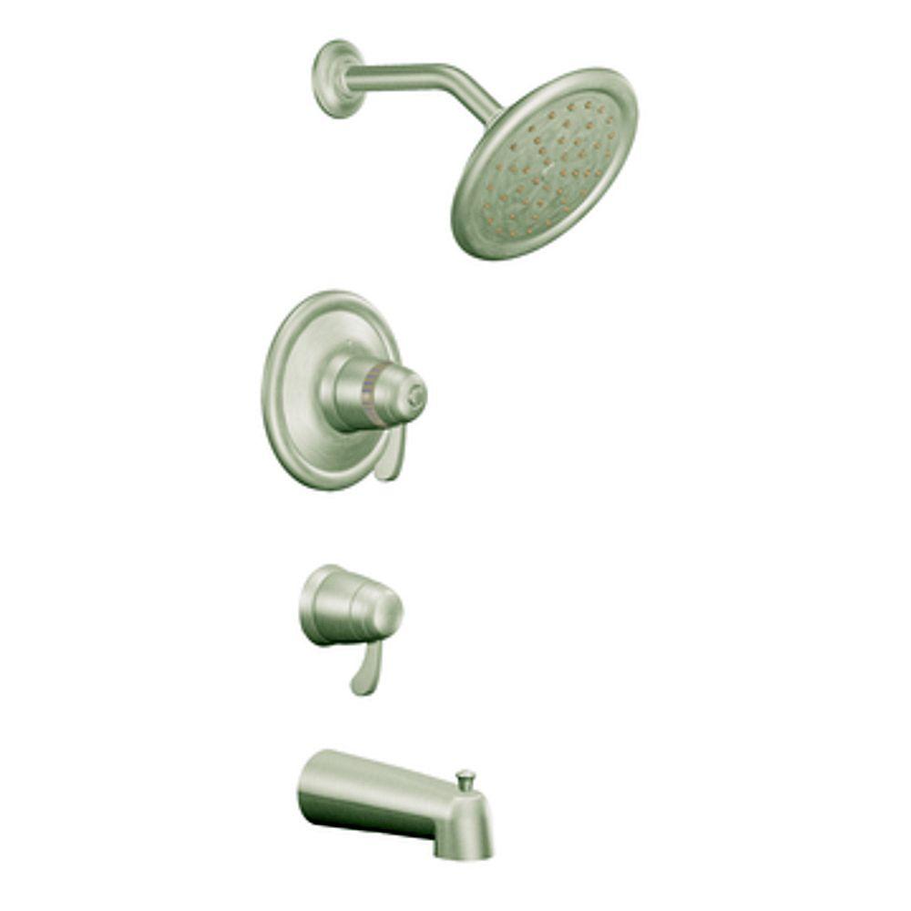 MOEN Exacttemp Bath/Shower Faucet with Showerhead in Brushed Nickel