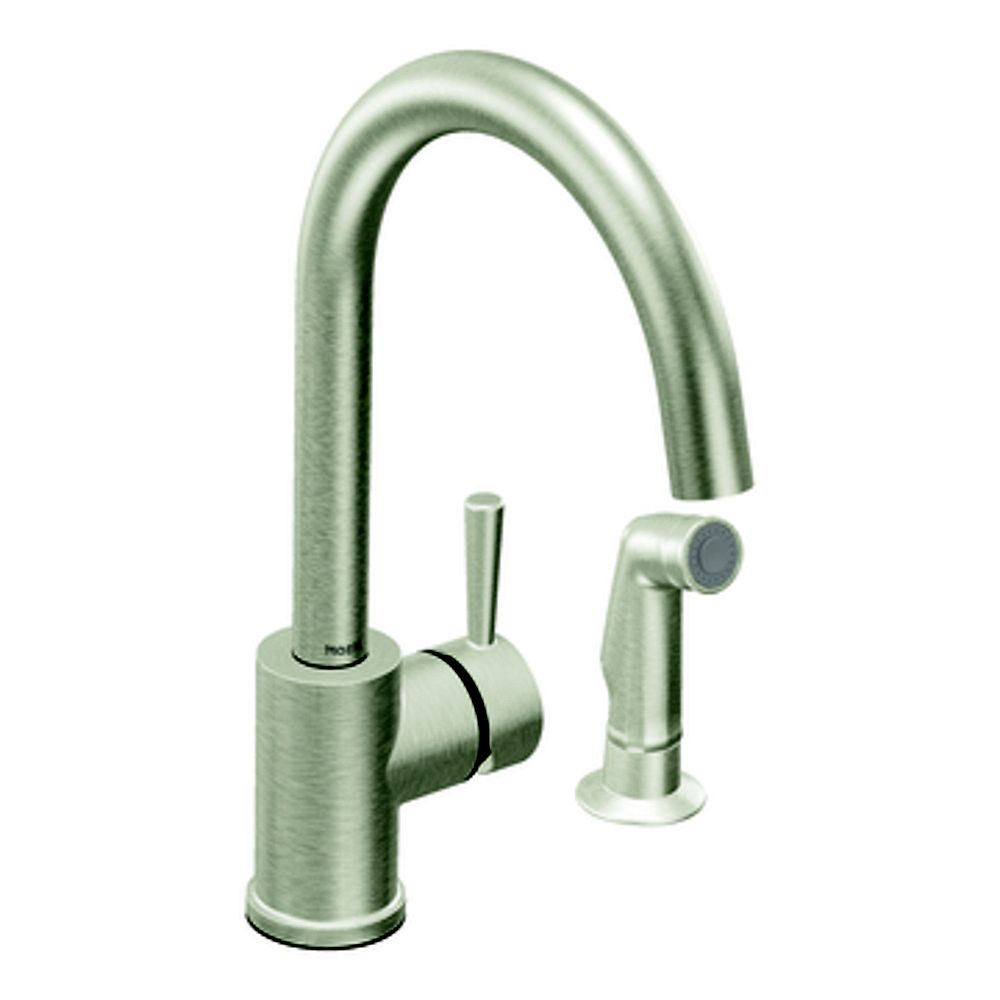 MOEN Level 1 Handle Kitchen Faucet with Matching Side Spray - Classic Stainless Finish