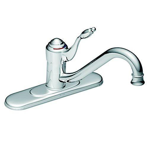 Chrome One-Handle Low Arc Kitchen Faucet