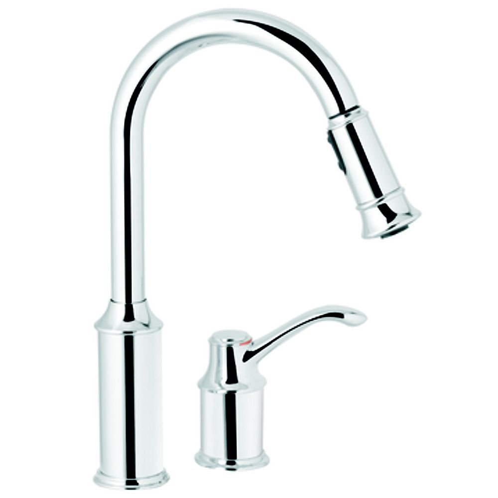 Moen Aberdeen Single Handle Pull Down Sprayer Kitchen Faucet With Reflex In Chrome The Home Depot Canada