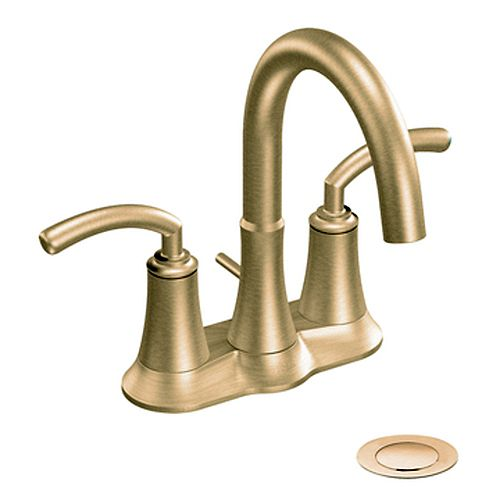2-Handle High-Arc Bathroom Faucet in Brushed Bronze Finish