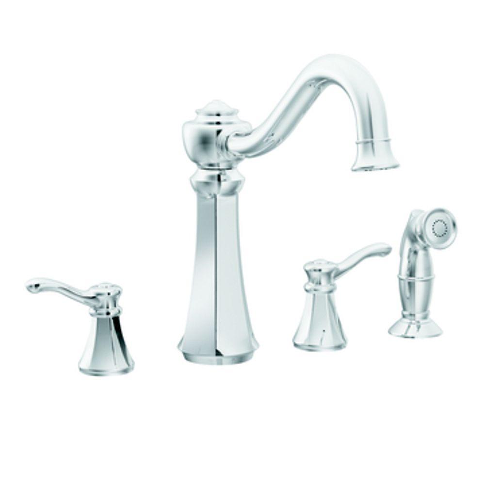 MOEN Chrome Two-Handle High Arc Kitchen Faucet