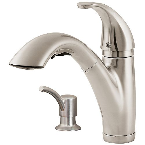 Parisa Lead Free Single Control Pull-Out Kitchen Faucet in Stainless Steel