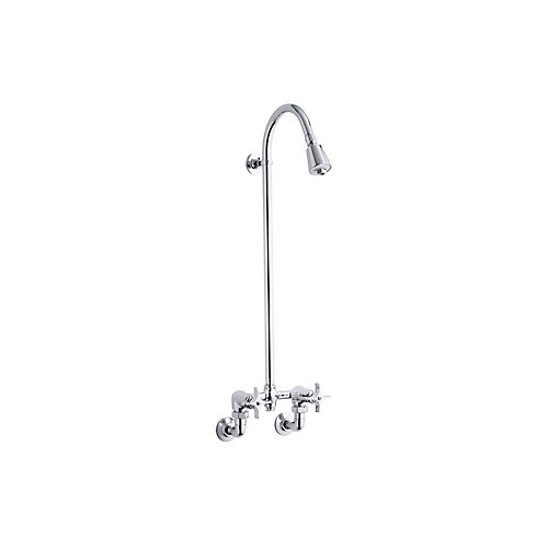 Industrial 2-Handle Exposed Shower Faucet in Polished Chrome