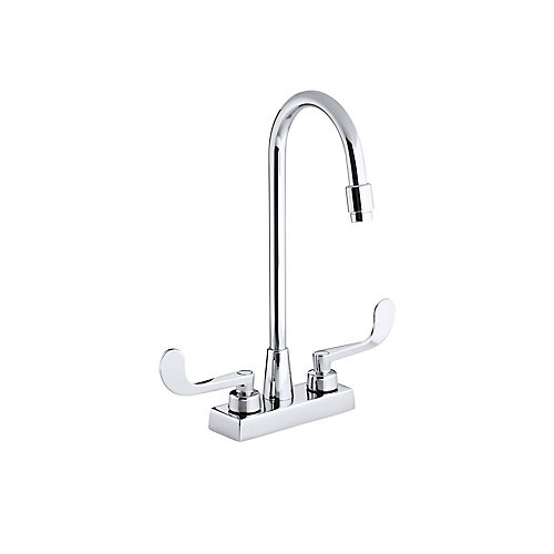 Triton(R) centerset commercial bathroom sink faucet with gooseneck spout and wristblade lever handles, drain not included