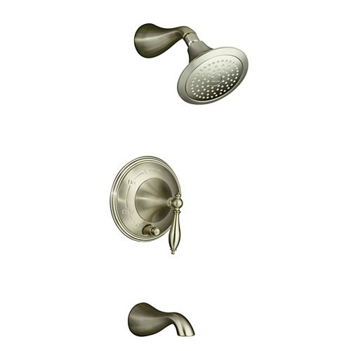KOHLER Finial(r) Rite-Temp(r) pressure-balancing bath and shower trim set with push-button diverter