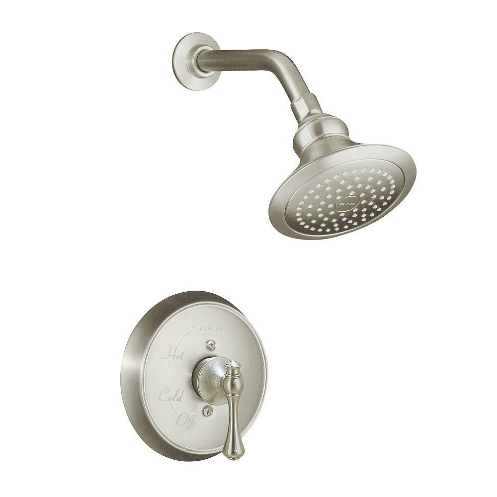 KOHLER Garniture de robinet de douche régulateur de pression Revival Rite-Temp avec avec poignée à levier traditionnelle, pomme de douche standard et bride